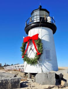 34196124 - christmas at the brant point lighthouse at nantucket, massachusetts